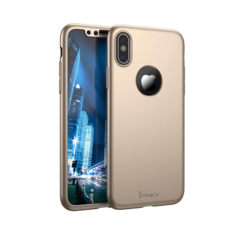 d34b740fd6 Apple iPhone X iPaky 360°-os kameravédős arany PC tok + 0,30 mm ...