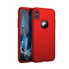 411f2db994 Apple iPhone XS iPaky 360°-os kameravédős piros PC tok + 0,30 mm vastag 9H  üvegfólia