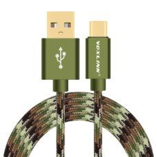Voxlink type-c usb kábel zöld terepmintás
