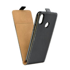 Huawei P20 Lite Slim Flexi Fresh fekete bőr flip tok