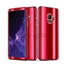 ZNP Samsung Galaxy S9 tükrös felületű 360°-os piros pc tok 1