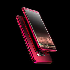 ZNP Samsung Galaxy S9 tükrös felületű 360°-os piros pc tok 2