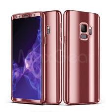 ZNP Samsung Galaxy S9 tükrös felületű 360°-os rózsaarany pc tok 1