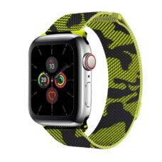 Apple Watch milánói szíj fekete-zöld színű terep mintás 2