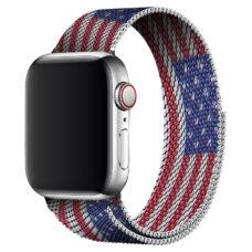Apple Watch milánói szíj piros-fehér-kék színű amerikai zászló mintás 2