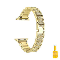 Apple Watch strasszkő diszítésű fém szíj arany 1