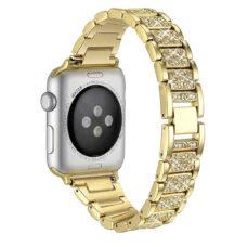 Apple Watch strasszkő diszítésű fém szíj arany 2
