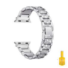 Apple Watch strasszkő diszítésű fém szíj ezüst 1