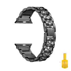 Apple Watch strasszkő diszítésű fém szíj fekete 1