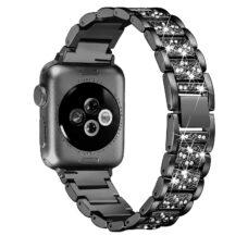 Apple Watch strasszkő diszítésű fém szíj fekete 2