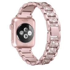 Apple Watch strasszkő diszítésű fém szíj rózsaarany 2