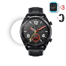 Huawei Watch GT okosóra üvegfólia és fekete fém szíj