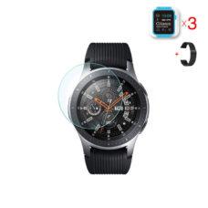 Samsung Galaxy Watch 46 mm okosóra üvegfólia és fekete fém szíj