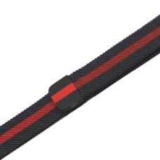 Univerzális milánói szíj fekete-piros színű csík mintás 1