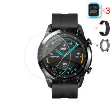 Huawei Watch GT 2 46 mm okosóra üvegfólia és fekete fém szíj és fekete szilikon tok