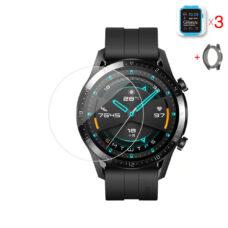 Huawei Watch GT 2 46 mm okosóra üvegfólia és fekete szilikon tok