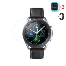 Samsung Galaxy Watch 3 45 mm üvegfólia és fekete fém szíj