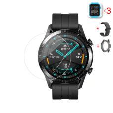 Huawei Watch GT 2 46 mm okosóra üvegfólia és fekete szilikon szíj és fekete szilikon tok
