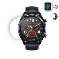 Huawei Watch GT okosóra üvegfólia és fekete szilikon szíj