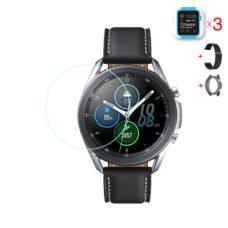 Samsung Galaxy Watch 3 45 mm okosóra üvegfólia és fekete fém szíj és fekete szilikon tok