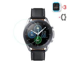 Samsung Galaxy Watch 3 45 mm okosóra üvegfólia és fekete szilikon tok
