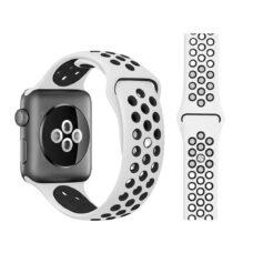 Apple Watch lyukacsos szilikon szíj fehér-fekete 1