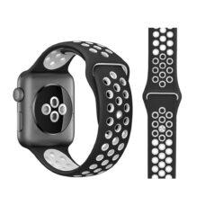Apple Watch lyukacsos szilikon szíj fekete-fehér 1