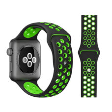 Apple Watch lyukacsos szilikon szíj fekete-neonzöld 5