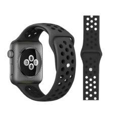 Apple Watch lyukacsos szilikon szíj fekete-szénfekete 1
