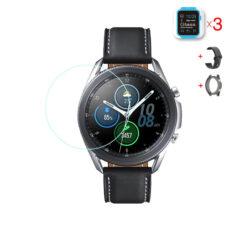 Samsung Galaxy Watch 3 45 mm okosóra üvegfólia és fekete szilikon szíj és fekete szilikon tok