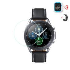 Samsung Galaxy Watch 3 45 mm okosóra üvegfólia és fekete szilikon szíj