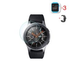 Samsung Galaxy Watch 46 mm okosóra üvegfólia és fekete szilikon szíj