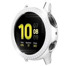 Samsung Galaxy Watch Active 2 44 mm okosóra fehér-ezüst színű strasszköves pc tok 2