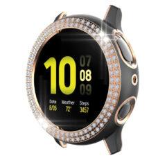 Samsung Galaxy Watch Active 2 44 mm okosóra fekete-rózsaarany színű strasszköves pc tok 2