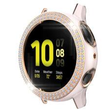 Samsung Galaxy Watch Active 2 44 mm okosóra rózsaszín-rózsaarany színű strasszköves pc tok 1